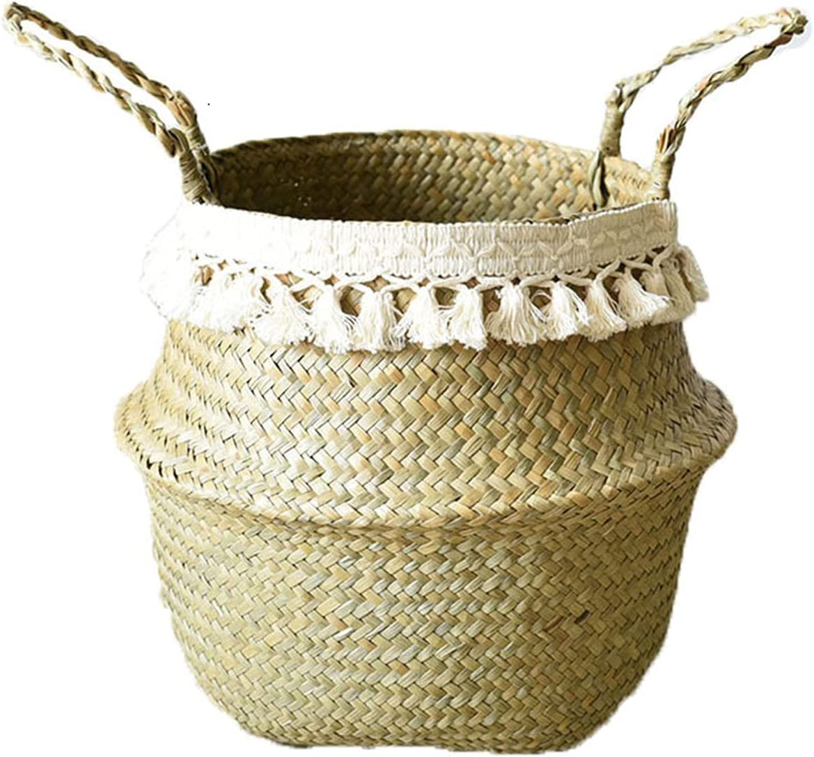 TORBKUI Small Straw Basket Woven Seagrass Kansas City Mall Indianapolis Mall with Belly Hand