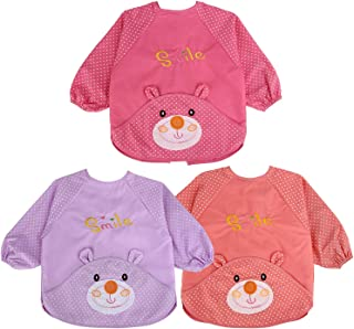 Acecharming Long Sleeved Baby Bibs Unisex Infant Toddler Bibs Baby Feeding Aprons- Fit for 6-24 Months(3 pcs)