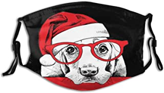 Christmas Cat and Dog Face_Mask Scarf with 2PCS Filters Adjustable Washable Outdoor for Kids