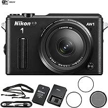 Nikon AW1 Waterproof Shockproof Digital Camera (27665B) Black + AW 11-27.5mm (Renewed)