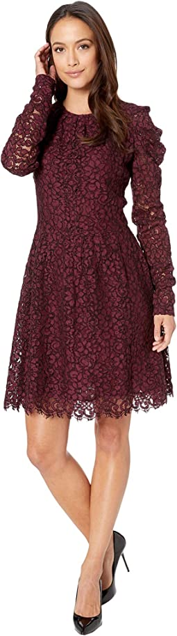 Mesh Floral Lace Long Sleeved Dress