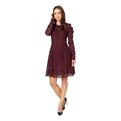MICHAEL Michael Kors Mesh Floral Lace Long Sleeved Dress (Cordovan) Women