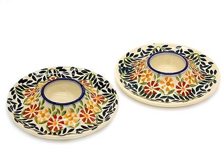 Preisvergleich für Original Bunzlauer Keramik Eierbecher flach, Dekor Adelheid