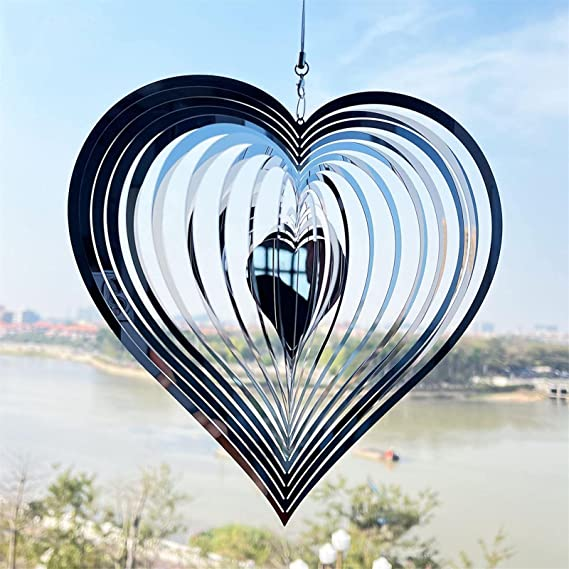 Amazon.com : GESHIDA Beating Heart Wind Spinner Stainless Steel 3D Heart Pattern Decor Silver Heart Spinners with 360° Rotating Hook Hanging Wind Spinner for Outdoor Garden House Hanging Decoration Gifts : Patio, Lawn & Garden