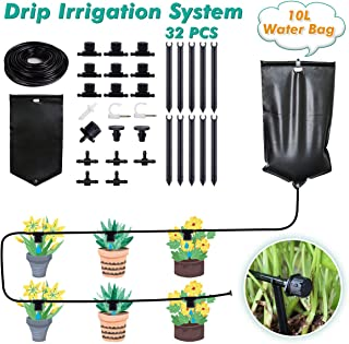 Drip Irrigation System, Automatic Watering System with 10L Water Bag for Indoor and Outdoor Plants Adjustable Drippers Irrigation Kit for Potted Plants Garden Greenhouse 33ft/10m DIY Watering Devices