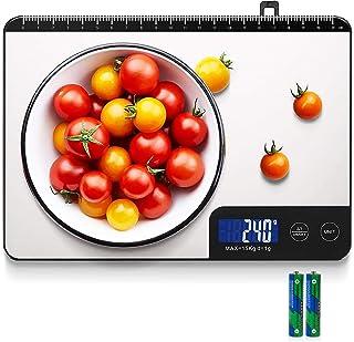 Balance Cuisine, HOMEVER 15kg Balance de Cuisine Electronique de Haute Précision, LCD Rétroéclairé Acier Inoxydable, Arrêt...
