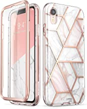 i-Blason Cosmo Full-Body Bumper Case with Built-in Screen Protector for iPhone XR 2018 Release, Pink Marble, 6.1