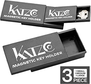 Katzco Magnetic Key Holder - 3 Sizes That Nest Inside Each Other for Easy Storage - 3, 4, and 5 Inch - Rugged Black Plastic Cases with Strong Magnets - for Safe Compartments, Extra Car Keys, House
