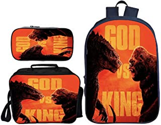 GD-Tshirts Godzilla VS King Kong Backpack 3 in 1 Backpack-Kids Back to School Backpack with Lungch Bag and Pencil Bag-Ligh...