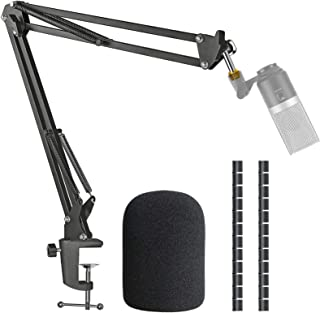 K670 Mic Boom Arm Stand with Pop Filter, Compatible with Fifine K670, Fifine 670B USB Microphone with Cable Sleeve by SUNMON