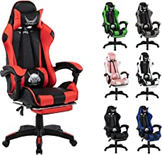 Gaming Chair Racing Chair Executive Sport Office Chair PU Leather Armrest Footrest Headrest Home Chair (Red)