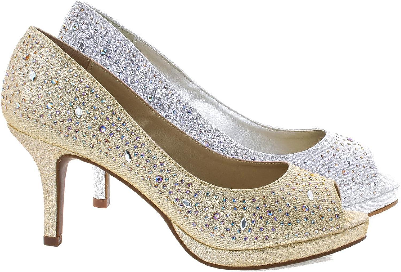 City Classified Frank Comfort Soft Foam Peep Toe Glitter Rhinestones, High Heel Dress Pump