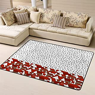 Area Rugs Living Room Carpet Bedroom Rug Square with Night Sky and Houses Red Gable Roof Small Village Or Townfor Children Play Solid Home Decorator Floor Rug A 60