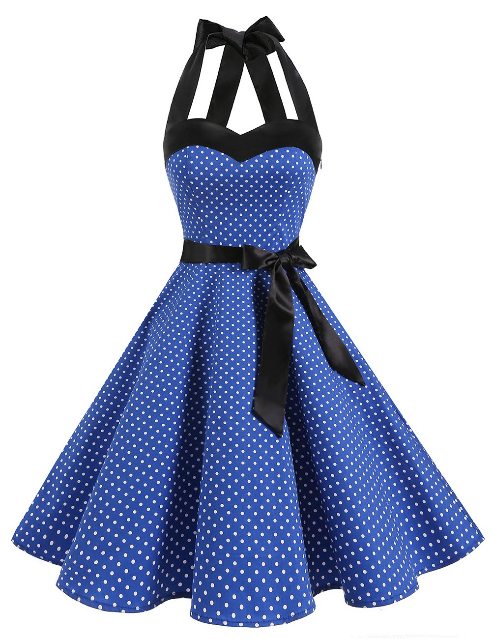 Available at Amazon: DRESSTELLS Vintage 1950s Rockabilly Polka Dots Audrey Dress Retro Cocktail Dress
