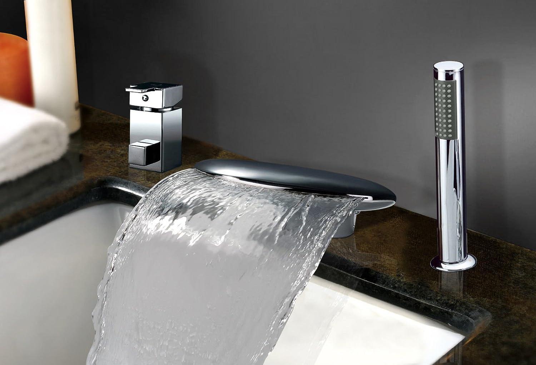 UHM Hot Sale Chrom Breite Wasserfall Badezimmer Badewanne Armatur auf ABS-Hand