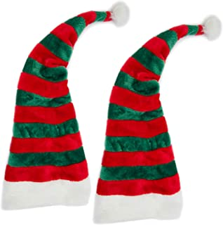 Blue Panda Long Santa Elf Hat (2 Pack) One Size, Striped Red and Green