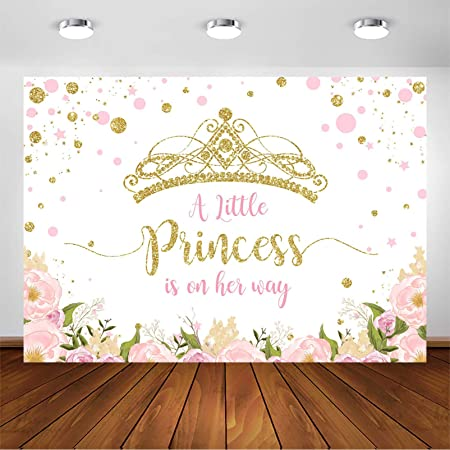 MTMETY 10x7Ft Royal Blue Princess Baby Girl Shower Backdrop Golden Crown White Background Baby Shower Party Banner Supplies Decoration HXME196