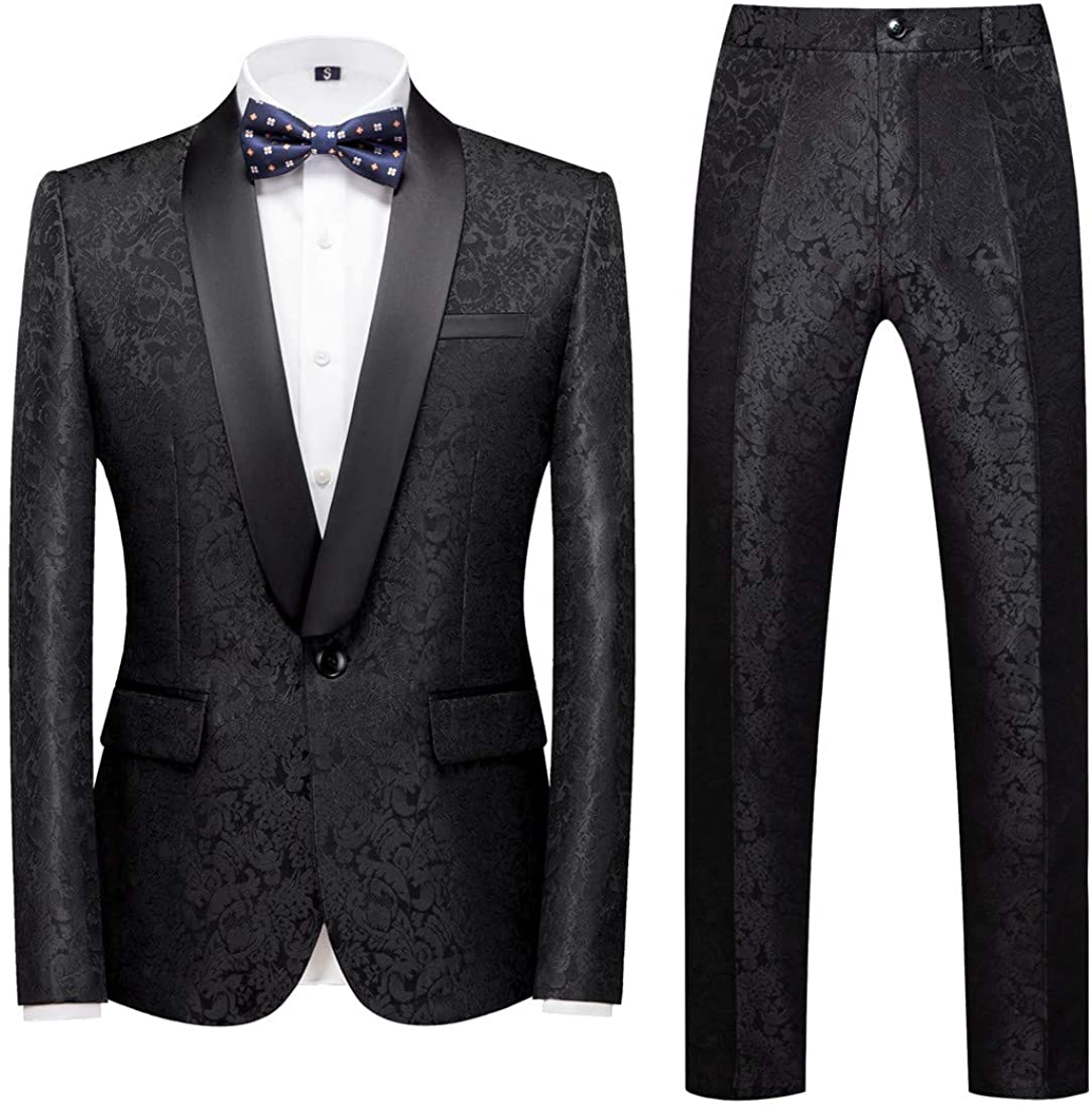 MOGU Cheap mail order specialty store Mens 2 Piece Suit Slim Fit Daily Bus for Lapel Boston Mall Tuxedo Shawl