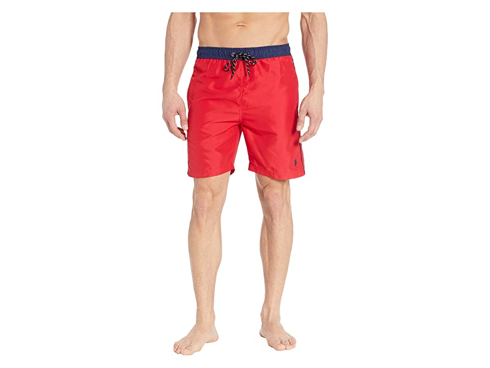 U.S. POLO ASSN. Contrast Waistband Swim Shorts (Engine Red) Men