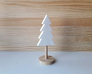 Árbol de Navidad de madera en blanco y pino natural de diseño escandinavo - Altura: 20,5 cm - Decoración para el hogar de ...