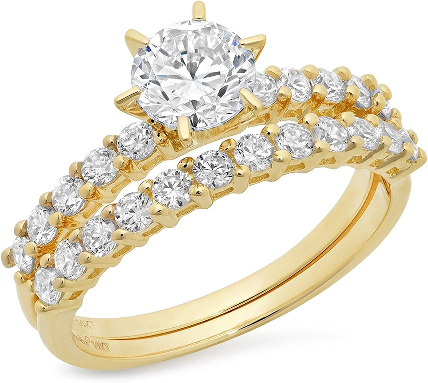 3.0ct Round Cut Pave Solitaire with Accent Genuine Moissanite & Simulated Diamond Engagement Promise Statement Anniversary Bridal Wedding Ring band set Solid 14k Yellow Gold