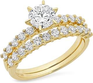 Clara Pucci 3.20 CT Round Cut Simulated Diamond CZ Pave Halo Bridal Engagement Wedding Ring Band Set 14k Yellow Gold