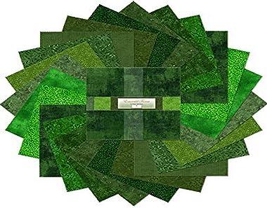 "Wilmington Prints Karat Mini Gems-Emerald Forest 10"" Squares, 24 Pieces per Pack 510-2-510, Green"