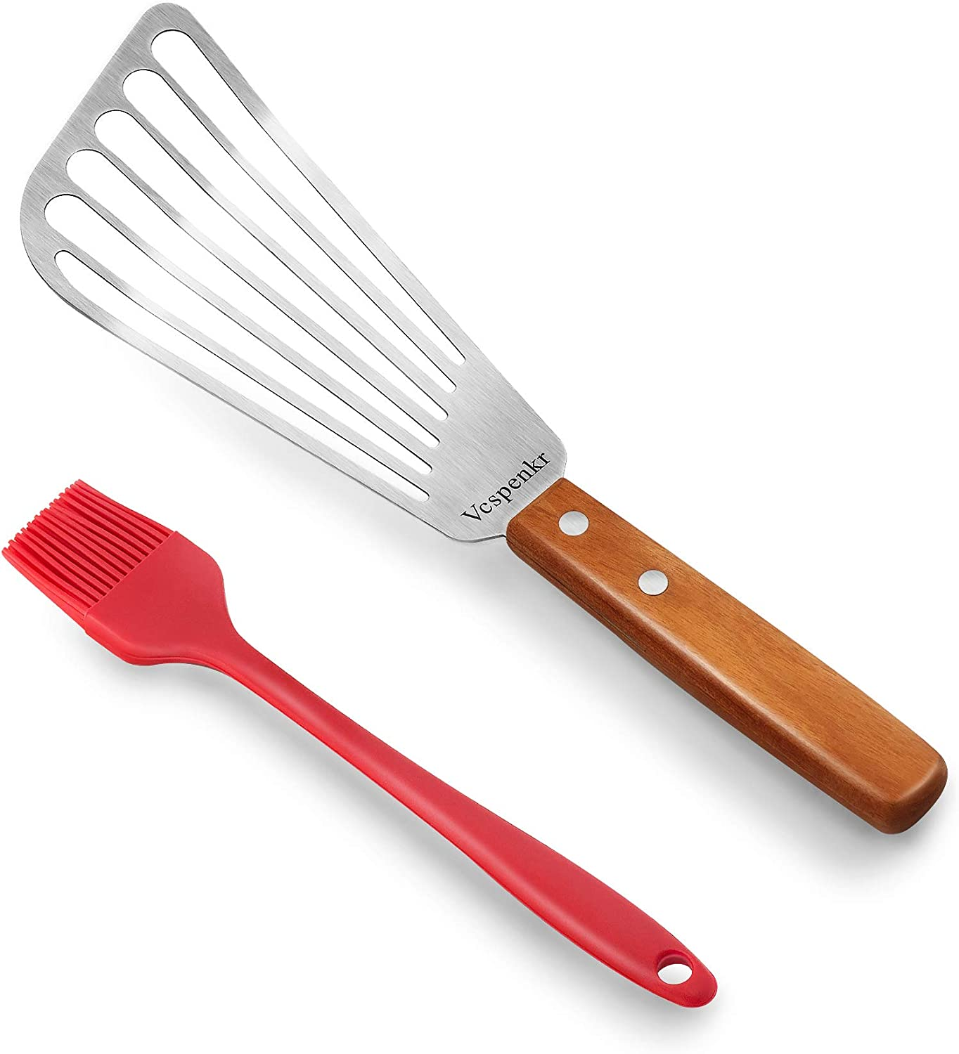 Vcspenkr Fish Spatula Turner online shop Smooth Solid Handle Turn Max 64% OFF Wood