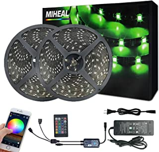 Miheal WiFi Wireless Smart Phone Controlled Led Strip Light Kit with DC12V UL Listed Power Supply Waterproof SMD 5050 65.6...
