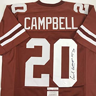 Autographed/Signed Earl Campbell HT 77 Texas Orange College Football Jersey JSA COA