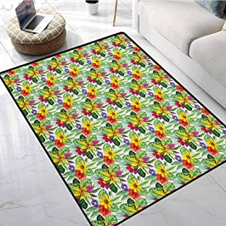 Jungle Area Rugs for Sale 3x5 ft Tropical Plants Composition with Yellow Lily Chinese Hibiscus and Monstera Leaves Doormats