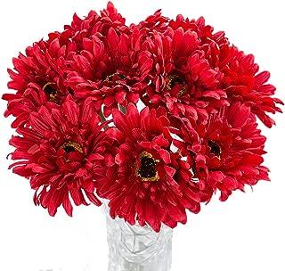 Htmeing 10 pcs Sunbeam Artificial Flower Mum Gerber Daisy Bridal Bouquet Silk Wedding Party Decoration (red)