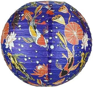 Quasimoon PaperLanternStore.com 14 Inch Midnight Koi Fish Pond Premium Paper Lantern