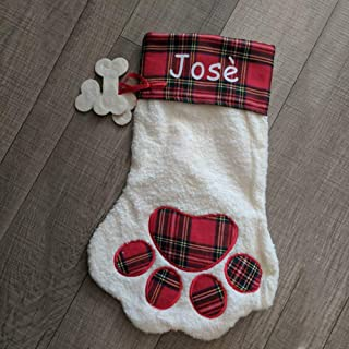 JINSEY Lovely Pet Paw Christmas Stocking Dog or Cat 18-Inch Length (Red Dog)