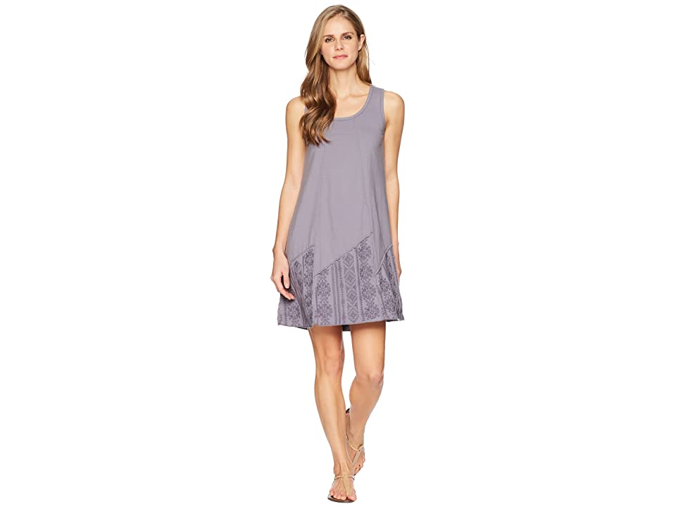 Mod-o-doc Classic Jersey Embroidered Panel Tank Dress (Steel) Women