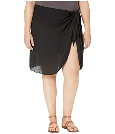 DOTTI Plus Size Summer Short Sarong Pareo Cover-Up (Black) Women