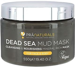 PraNaturals 550g Mascarilla Facial y Corporal 100% Natural y Orgánica con Barro del Mar Muerto Rica en Minerales Nutritiv...