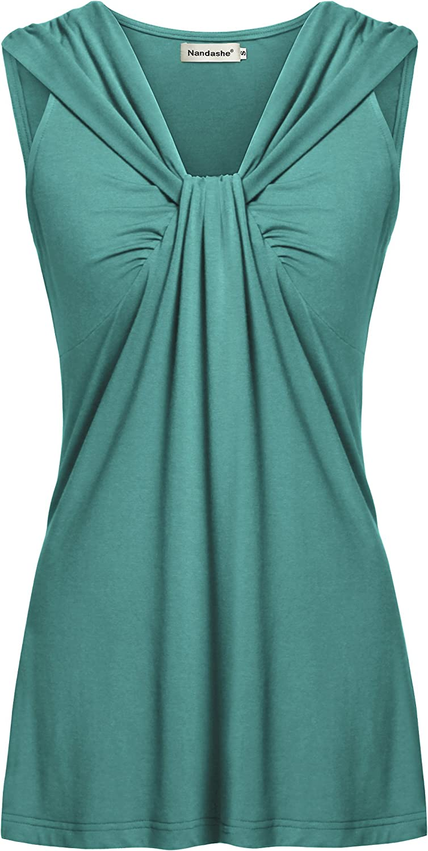 Nandashe Womens Summer Tunic Tanks Casual V Neck Cross-Front Twist Knot Sleeveless Shirt Tops