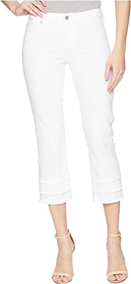 Liverpool Lucia Crop with Tier Raw Edge in Comfort Stretch Denim in Bright White