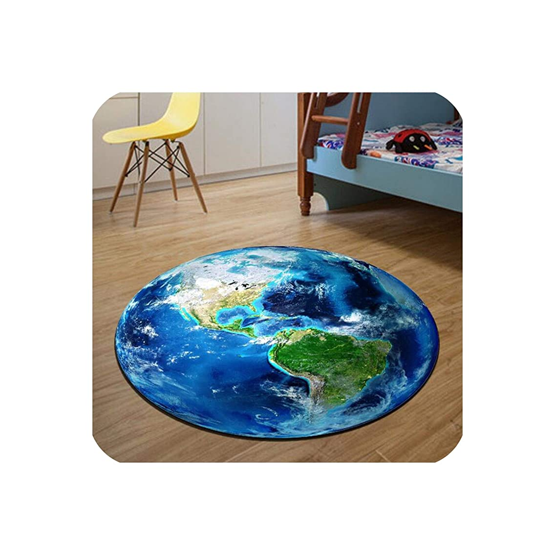 Round Carpet 3D Print Earth Planet Soft Carpets Anti-Slip Rugs Computer Chair Mat Floor Mat for Kids Room Home Decor,Diameter 100cm