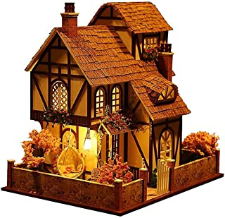 Rylai 3D Puzzles Miniature Dollhouse DIY Kit w/ Light -Flower Town Series Dolls Houses Accessories with Furniture LED Musi...