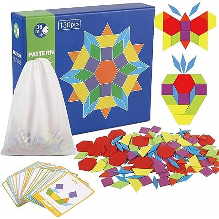 jacootoys 130 PCS Blocs De Puzzle Jouet Montessori Tangram en Bois Scie Sauteuse Éducatif Géométrique Jeu pour Enfants avec 24 Cartes