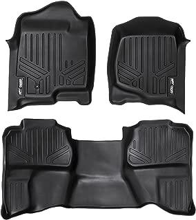 MAXLINER Floor Mats 2 Row Liner Set Black for 2007-2013 Silverado/Sierra 1500/2500/3500 HD Extended Cab