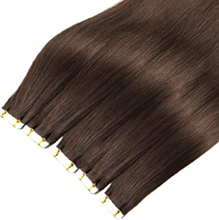 Tape in Human Hair Extension, Remy Brown Straight Haar Naadloze Huid Inslag Invisible Dubbelzijdige Tape Haarverlenging 4#...