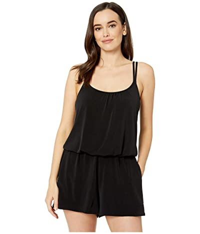Maxine of Hollywood Swimwear Solids Tricot Romper One-Piece (Black) Women