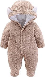 طفل الفتيان الفتيات الشتاء رومبير الوليد الدافئة الصوف بذلة أبلى الزي ملابس الأطفال (Color : Khaki, Size : 9-12 Months)