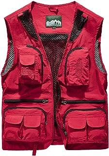 Vest Summer Thin Multi-Pocket vest Men's Outdoor Loose vest Jacket (Color : Red, Size : M)