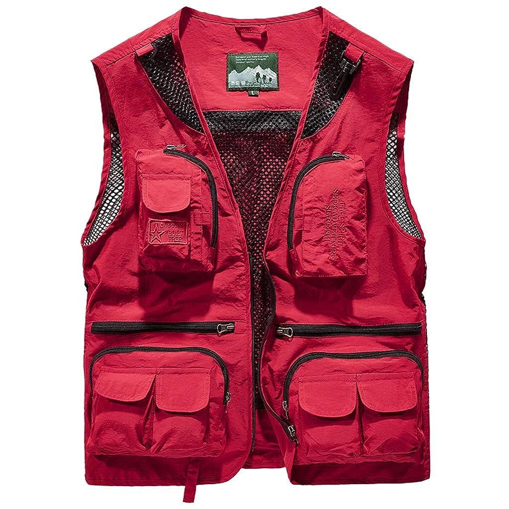 旋回美しい減るベストメンズ夏のマルチポケットベストの男性の薄いセクションの屋外ジャケット緩いジャケット (Color : Red, Size : XXL)