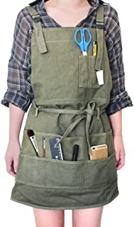 Tour Artist Canvas Apron with Pockets Painting Apron Painter Adjustable Neck Strap/Waist Ties Gardening Waxed Aprons for Women Men Adults, Adjustable M-XXL