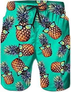 RAISEVERN Summer Mens Fancy Print Hawaiian Boardshorts Casual Beach Pants Swim Trunk swith Mesh Lini for Holiday Wear Hawa...